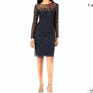 Adrianna Papell NWT blue black beaded dress